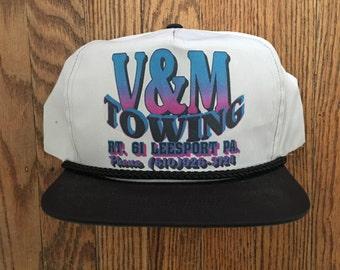 Vintage V & M Towing Snapback Hat Baseball Cap