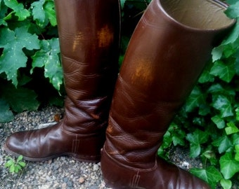 French leather riding boots,Men vintage boots US size 8.5,True Leather ridingboots,