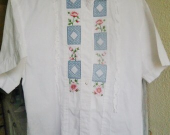 Vintage blouse 50's,Italian white blouse ,embroided blouse