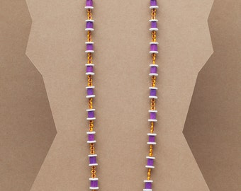 Long geometric beaded necklace made with colour ceramic beads