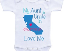 Aunt and Uncle Onesies- My Aunt and Uncle Love Me Onesies from Different States Auntie shirt/I love my Aunt for niece nephew Aunt baby shirt