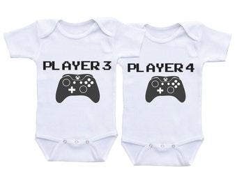 Player 3 Player 4 Videogame Onesies Twin Onesies for Boy or Girl Twins,Twin baby gifts,Twins Gifts,Twin Outfit,Twin Clothing,Twin shirts