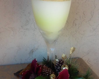 Christmas Hand Poured Candle with Bling Goblet-D Design