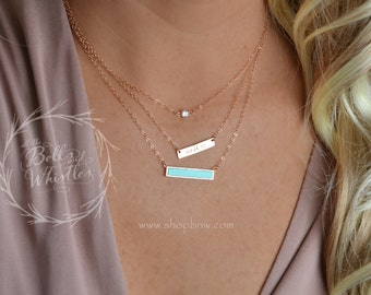 Personalized Bar Necklace, Turquoise bar, Turquoise necklace, tiny diamond, diamond necklace, custom necklace, layering necklace