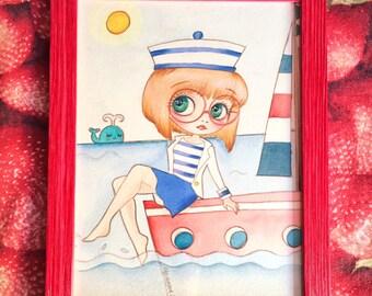 Ellen wood framed 18 x 24 watercolor