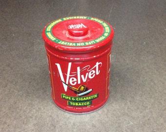 Vintage Velvet Pipe & Cigarette Tobacco Tin - Vintage Advertising Smoking Collectible