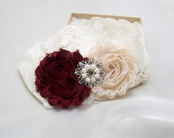 Wine Burgundy Wedding Garter Set, Bridal Lace Garter Set, Shabby Flower, Vintage Style Ivory Stretch Lace, Rhinestone Keepsake, Lc-B/BtnChc