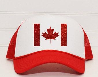 Canada Flag Trucker Hat | Ladies Canada Day Hat | Womens Canada Maple Leaf Snapback Hat