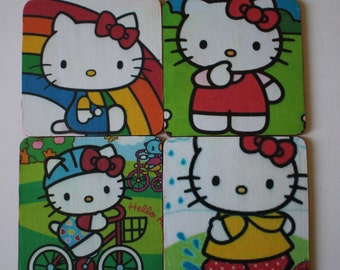 Hello Kitty Coasters, 4 Rainbow Happy, Drinkware, Barware, Unique Gift Hostess Gift Custom Made Birthday Present Mothers Day