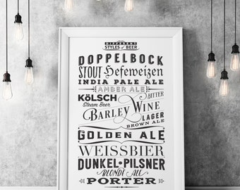 Different Types of Beer Poster - Typographic Print