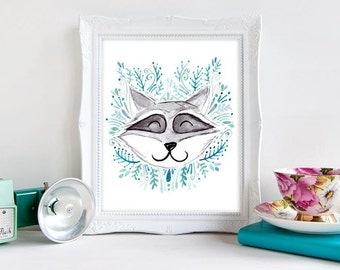 Custom Baby Name Nursery Art - Watercolour Illustration - Baby Blue Raccoon