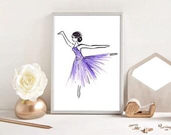 Purple Tutu Dancing Ballerina - Watercolour Fashion Illustration Print