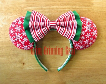 Christmas Minnie Mouse Ears- Snowflake Minnie Mouse Ears with Swarovski Crystals