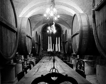 Photography Black and White Photo Cave Wine, Wall Art Print, Fine Art Print, Decoration Contemporary Home, Wine Barrels,