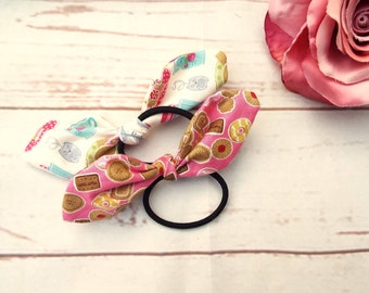 Pack of 2 Bows - Hair Elastics - Ponytail Elastics - Hair Bow Elastics - Pink hair Bow - Gifts For Her