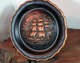 3D Schooner Boat Copper and Black Plate, Coppercraft Guild 1974 3D Clipper Boat Decorative Plate,Nautical Plaque Copper and Black Plastic