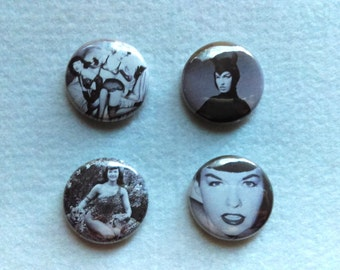 Betty Page Pin Set (4 Buttons)
