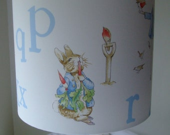 Beatrix Potter - Peter Rabbit Alphabet Handmade Nursery Lampshade 25cm Drum