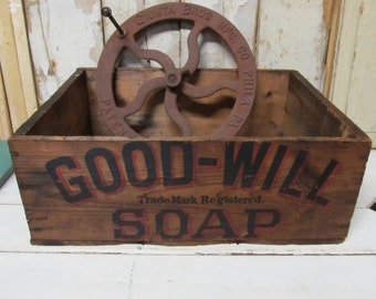 Vintage  Wooden Good Will Soap Box,Primitive Wooden Box ,Storage Box,Wooden Crate