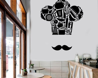 Wall Vinyl Decal Kitchen Cooking Chef French Hat and Mustache Pots and Pans Cool Decor for Restaurants (#1042di)