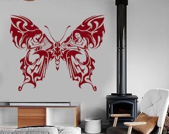 Wall Vinyl Decal Nature Patterns Butterfly Music Ornament Sketch Eco Abstract Modern Home Decor (#1203dz)