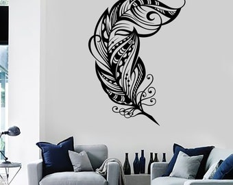Wall Vinyl Decal Feather Romantic Love Bedroom Amazing Mural Art 1489dz