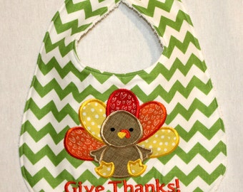 Thanksgiving Turkey Bib - Appliqued with Turkey and Give Thanks!