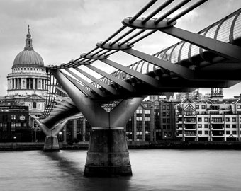 London Bridge Print - Millennium Bridge, London Wall Art, London Black And White Print - London Photography Print