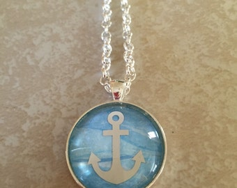 Glass Anchor Necklace