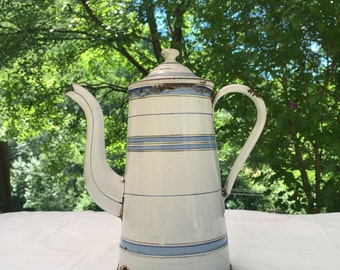 Vintage Enamel Coffee pot. 1930s Antique, Blue White Gold striped cafetiere. French Country Cottage, Shabby Chic, Kitchenalia,Pitcher.