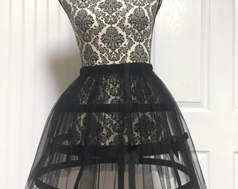 Black cage/loop skirt with Black Tulle S-L