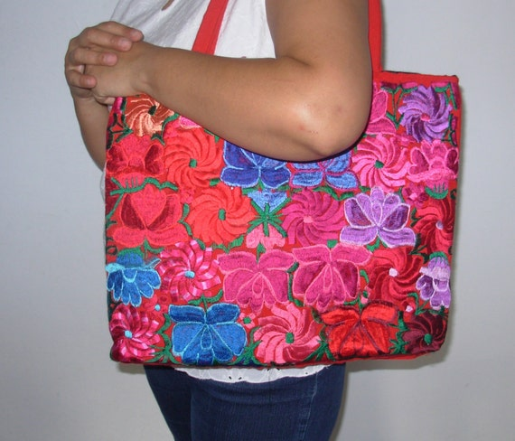 Mexican hand embroidery purse bag chiapas frida by