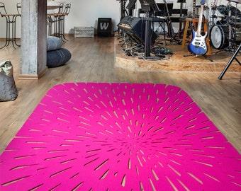 hot pink rectangle wool felt office u0026 home area rug ecofriendly hot