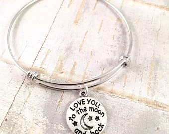 To the moon bangle, Adjustable bangle bracelet, Love you to the moon bracelet, stainless steel bracelet, for her