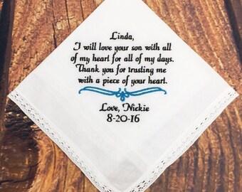 Wedding Hankerchief For Mother of Groom - Mother of Groom Hankerchief, Hankerchief For Mother of Groom - Mother of Groom Gift - Handk