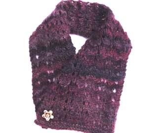 Wool Cowel with Vintage Pin
