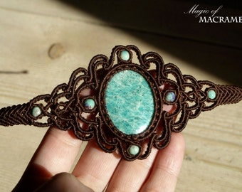 Amazonite micro macrame brown bracelet| Handmade jewelry| Original gifts for her| Healing stone and crystal| Unique jewelry| MagicOfMacrame