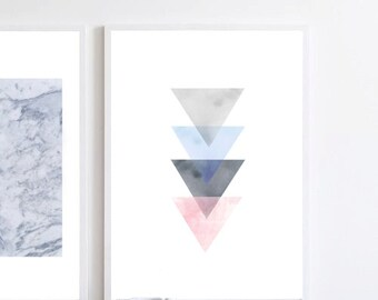 Triangles watercolor, Blue watercolor, Pink art Geometric art Minimalist art Large art print Scandinavian print Abstract watercolor Wall Art
