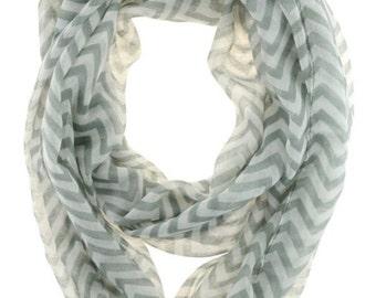 Grey & White Chevron Infinity Scarf Eternity Zig Zag Stripe Loop
