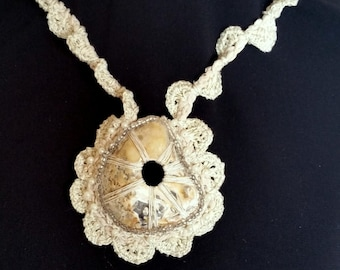 Unique Handmade Sea shell Bib necklace Beach Inspired Necklace Handmade art necklace with natural shells from Brighton Beach in UK