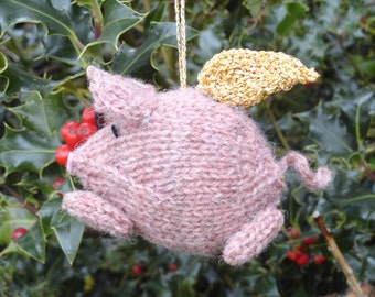 Flying Pig Hanging Decoration - Pig with wings Christmas Tree Decoration - Flying woollen Pig - Gold Winged pig - Silver winged pig
