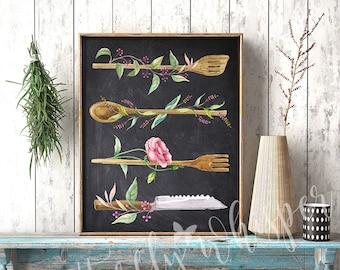 Chalkboard Kitchen sign, Printable Kitchen wall decor, Kitchen art print,  Watercolor Utensils, Rustic Kitchen Spoons, Typographic Print