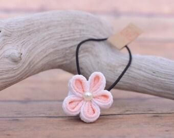White / Pink flower Ponytail holder : Flower hair accessories , Kanzashi flower ponytail holder , Flower Elastic tie , small gift idea