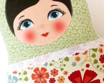 "Babushka matryoshka softie plush doll pillow gift, extra large, 47cm/18.5"" tall, green floral style"