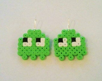 Pacman ghost earrings pixel art beading beads