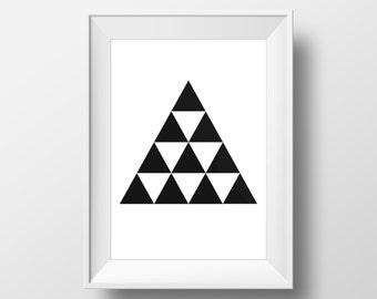 Triangle Art, Triangles Art, Modern Art, Modern Print, Prints, Black And White Affiche, Poster Scandinavia, Design Poster, Art Print #0046