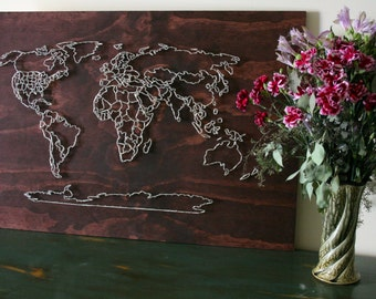 World Map String Art All Countries Us States Travel Art Wander