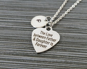 Daughter father necklace inspirational love round pendant father daughter necklace gift for daughter personalized necklace custom initial necklace father mozeypictures Choice Image