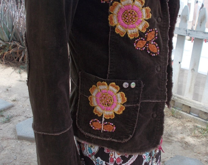 Vintage 80s Joystick Boho Hippie Chic Brown Pink Cotton Embroidered Floral Flowers Womens Long Sleeve Blazer Jacket S