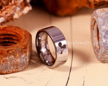 Tungsten Band with Flat Edge Mickey Mouse Ring- 8mm Tungsten Ring
